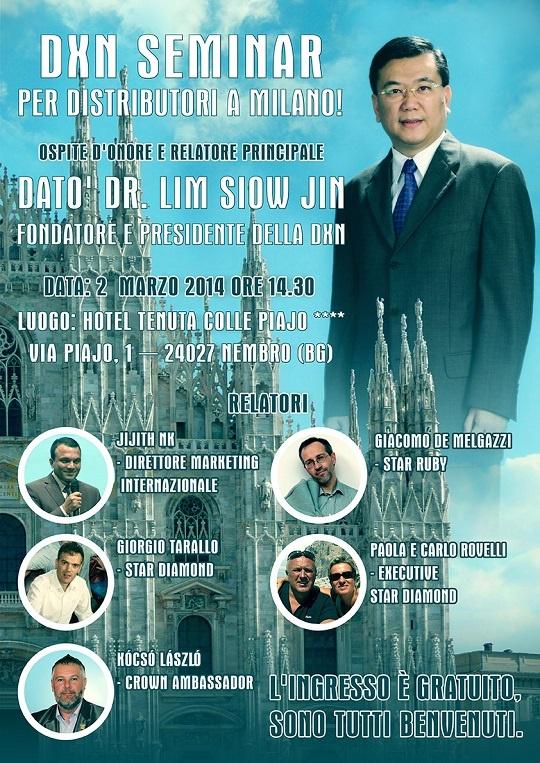 DXN Seminar a Milano il 2 marzo 2014