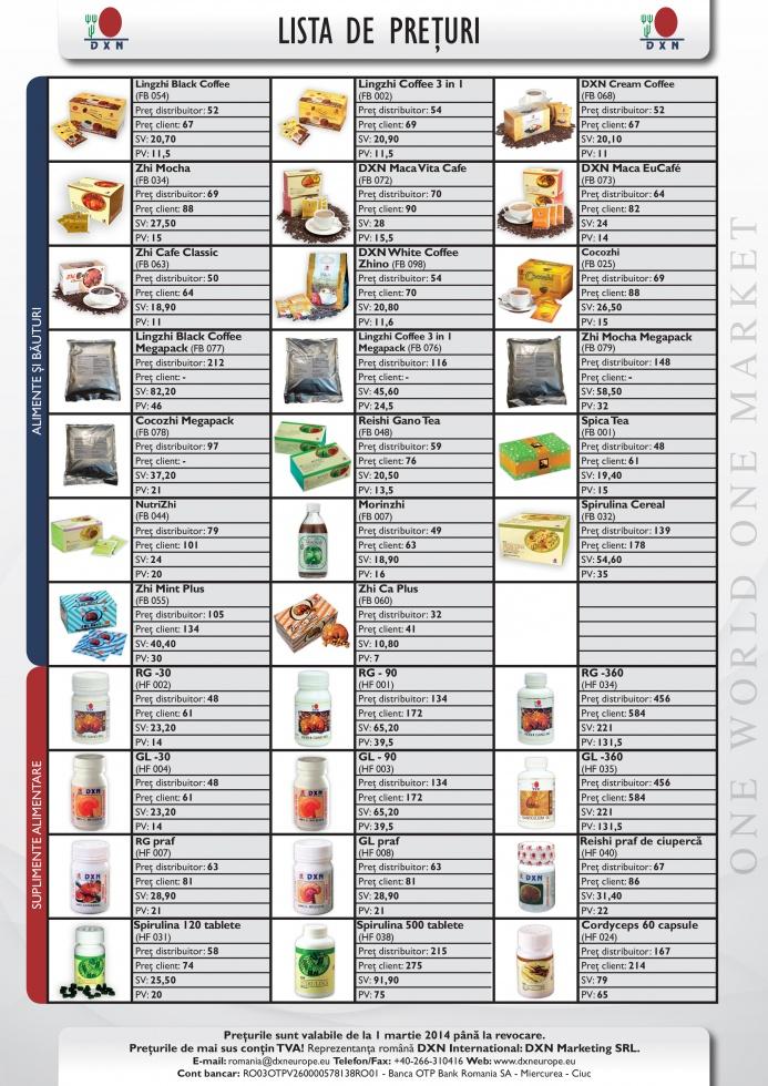 DXN lista de preţ cu imagini