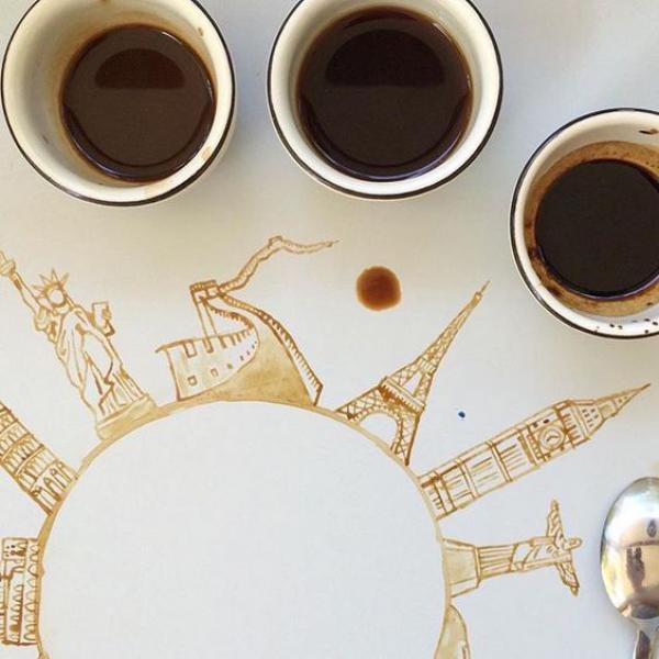 kávés kép pinteresztről kávéval festés
