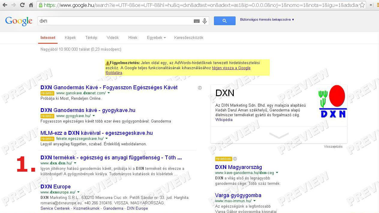 google keresőben első helyezés a dxn kulcsszóra
